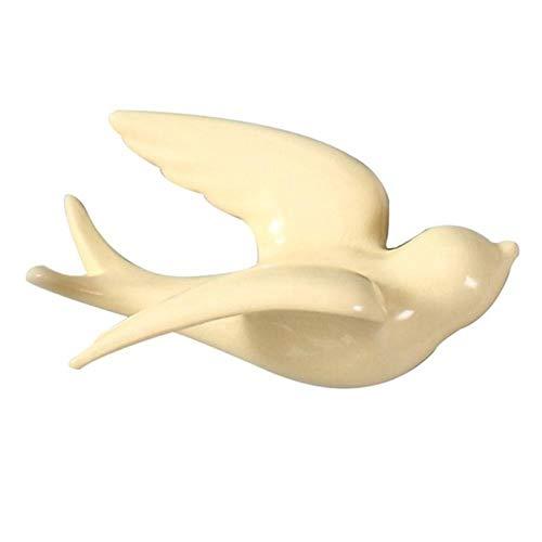 Vögel Wanddekoration 3D Deko Accessoires Wohndeko Modern Vintage 6 Skulpturen Wandfarben Vogel Statue, Hellgelb, L