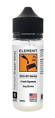 Element E-Liquid Goteo Serie 100ml 0mg Shortfill Vapeado 0mg E-Liquid E-Líquido para cigarillo electrónico sabor Sensation sin nicotina Todo sabor (Fresh Squeeze)