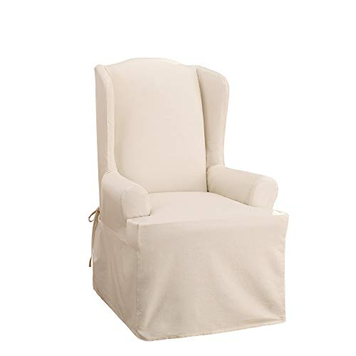 Sure Fit Home Décor Cotton Duck Solid T-Cushion Wing Chair One Piece Slipcover, Relaxed Woven Fit, 100% Cotton, Machine Washable, Natural Color