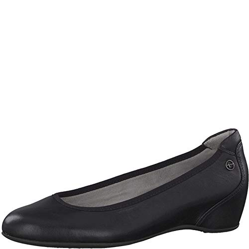 Tamaris Damen Pumps 22471-24, Frauen Keilpumps, Keilabsatz klassisch elegant bequem businessschuh Office Damen Frauen,Black Leather,38 EU / 5 UK