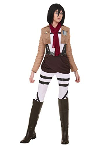 Attack on Titan Mikasa Costume Women's Cosplay Mikasa Outfit X-Small Brown