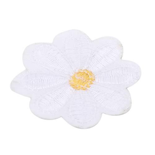 Kaned Parche de flores pegatinas ropa vestido planta colorido costura en parches apliques, 5 piezas en blanco