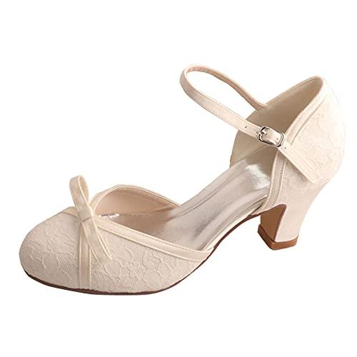 Zapatos De Boda Mary Jane para Mujer Tacones Ancho Encaje Punta Cerrada...