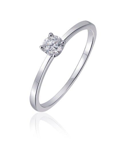 Goldmaid Damen-Ring Solitär Verlobungsring 585 Weißgold 1 Brillant 0,25 ct. Gr. 54