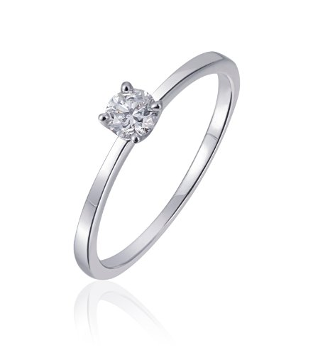 Goldmaid Damen-Ring Solitär Verlobungsring 585 Weißgold 1 Brillant 0,25 ct. Gr. 56