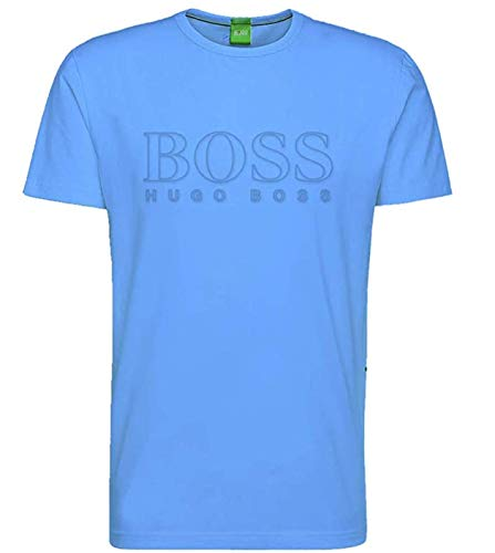 Hugo Boss Mens Crew Neck Fashion T Shirt BOSS 50389098 Front Logo Short Sleeve (Open Blue, X-Large)