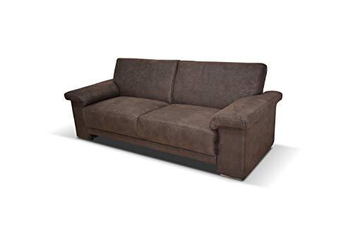 Domo Collection Arizona Sofa / elegantes 3er Sofa mit breiten Armlehnen / zeitlose couch mit klasse Polsterung / Maße: 186/84/91 cm (B/T/H) / Farbe: dunkelbraun (braun)