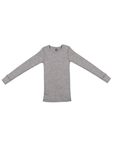 Dilling Dilling Kinder Shirt in breitem Rippstrick aus 100% Bio Merinowolle Graumeliert 98/104