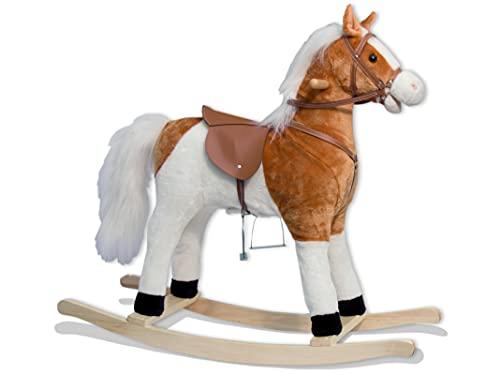 TEOREMA- Cheval à Bascule, Hauteur 82 cm, Selle 56 cm, Sons réels (nitrie et galoppa), Charge maximale 50 kg, 36004, Blanc/Brun