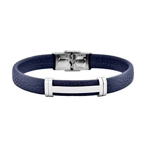 Geoffrey Beene Men's Genuine Leather Bracelet with Stainless Steel Cut-Out ID, Blue