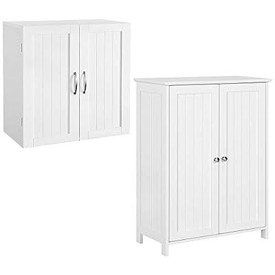 YAHEETECH 2 PC Bathroom Furniture Sets - 2 Doors Floor Cabinet & Wall Cabinet Storage Organizer with Adjustable Shelf for Bathroom/Medicine/Kitchen/Laundry White