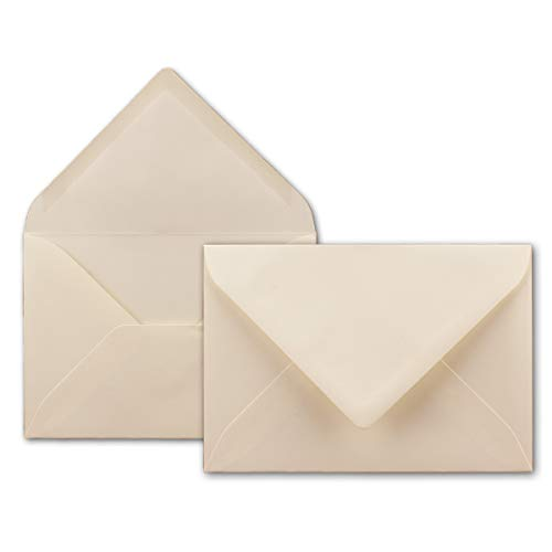 50x Brief-Umschläge in Creme - 80 g/m² - Kuverts in DIN B6 Format 12,5 x 17,6 cm - Nassklebung ohne Fenster