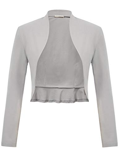 Belle Poque 50s Retro Cropped Cardigan for Women Dress Shrug Grey Bolero Jacket (Light Gray,M)