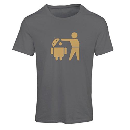 Frauen T-Shirt Lustiger Android-Roboter - Geschenk für Tech-Fans (Medium Graphit Gold)