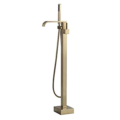 JiaYouJia Freestanding Bathtub Faucet Brushed Gold Floor Mount Bathroom Tub Filler Faucet with Hand Shower Single Handle One Hole Bath Mixer Tap Lead-free Solid Brass