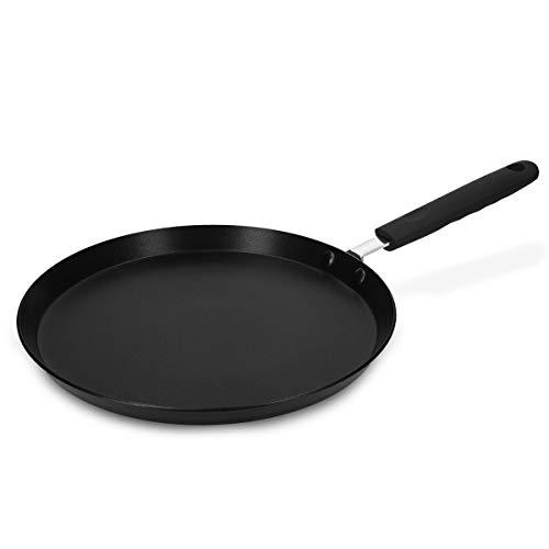 Navaris Sartén para Crepes - Sartén Antiadherente para Crepes Tortitas filloas Huevos - Crepera Plana Apta para inducción - 26CM de diámetro