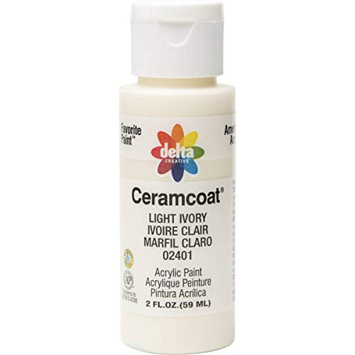 Delta Creative Ceramcoat Acrylic Paint in Assorted Colors (2 oz), 2401, Light Ivory