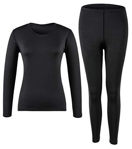 MOLLDAN Women's Long Johns Baselayer Thermal Underwear Tops & Bottom Set with Fleece Lined(XXL,Black)