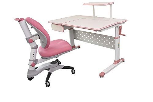 """ApexDesk Little Soleil DX 43"""" Children's Height Adjustable Study Desk w/ Integrated Shelf and Drawer (Desk and Chair Bundle – Pink)"""