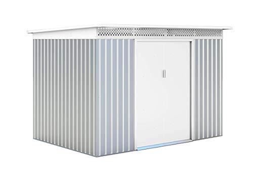 GARDIUN KIS12136 Metallhaus London 5,71 m2, außen 206 x 277 x 187 cm, verzinkter Stahl, silber/weiß