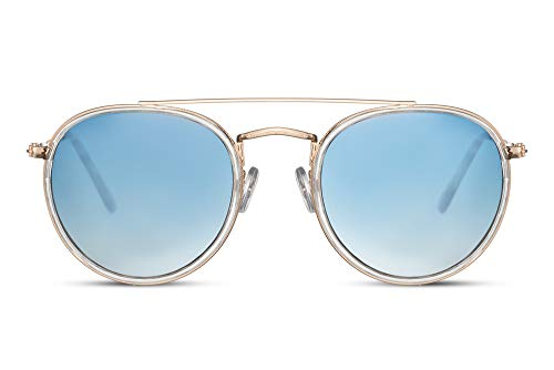 Cheapass Gafas de sol Rojoondas Doradas Metálicas Graduales Azul Transparentee Lentes Lisas Puente Doble con protección UV400 Hombres Mujeres