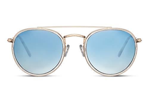 Cheapass Sonnenbrille Rund Gold Metall Farbverlauf BlauTransparent flache Linsen Doppelbrücke UV400 geschützt Männer Frauen