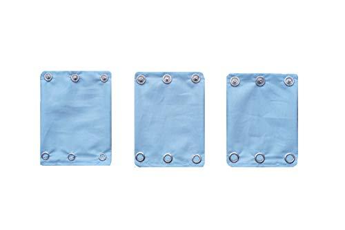 Bodyverlängerung Baby für Babybodys 3er-Set'Babyblau' mit 3 Knopfgrößen! aus 100% Bio-Baumwolle