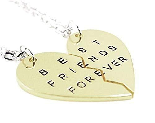Lot van twee ketting met hartvormige hanger in tweeën gedeeld met de inscriptie - voor altijd - beste vrienden voor altijd - idee van vriendschapscadeau best friends forever