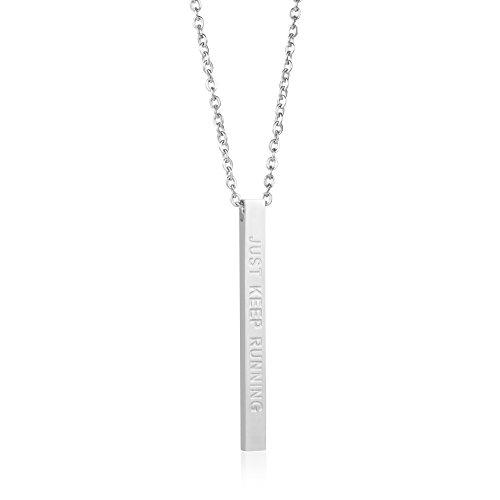 Runner Gift Encouragement Jewelry for Women Vertical Bar Necklace Just Keep Running (silver)