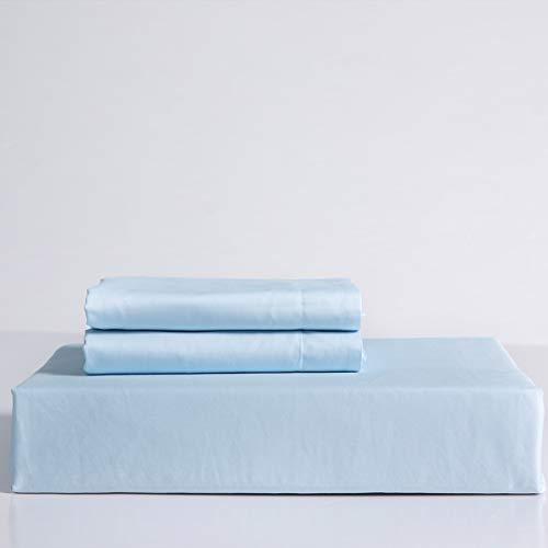 GoComfy Sábana bajera ajustable de algodón egipcio, tamaño king, 100% algodón egipcio, azul claro, 400 hilos, juego de ropa de cama de 3 piezas con 2 fundas de almohada
