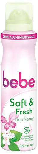 Bebe Soft & Fresh Desodorante Spray té verde/suave Deo sin aluminio, con aroma de té verde fresca–24h, sin manchas, 150ml