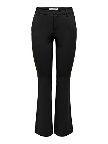 Only ONLROCKY Mid Flared Pant TLR Noos Pantalones, Negro (Black Black), 40/L30 (Talla del Fabricante: Large) para Mujer