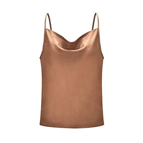 URIBAKY - Camiseta de tirantes para mujer sexy, ajustable, cuello en U, de color liso marrón L