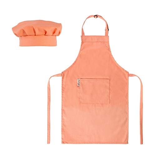Kids Apron and Chef Hat Set-Adjustable Child Apron for Boys and Girls for Cooking Baking
