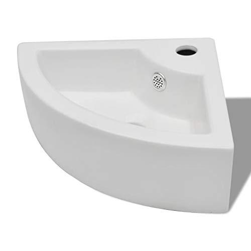 vidaXL Waschbecken Keramik Eck mit Überlauf Hahnloch Waschtisch Keramikspülen