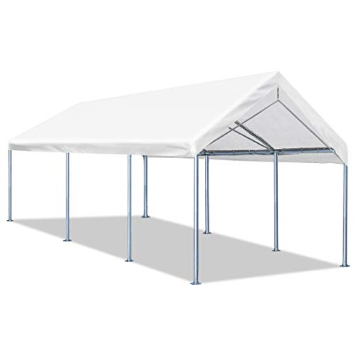 Quictent 10'x20' Carport Upgraded Heavy Duty Car Canopy Galvanized Car Boat Shelter with 4 Reinforced Steel Cables White