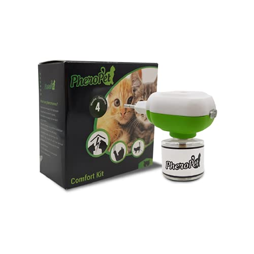 PheroPet Confort – Difusor de feromonas para Gatos, tranquilizante Gatos – Acaba con Malos comportamientos con Este Relajante para Gatos Natural – Anti arañazos - (Difusor + Recambio 48ml)