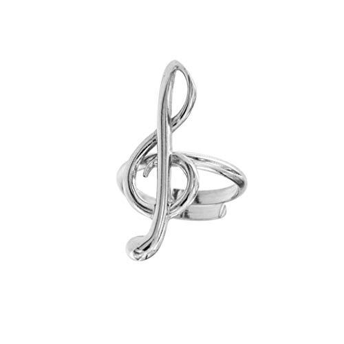Anello Donna Chiave di Violino in Argento 925 Anelli Nota Musicale Regolabile