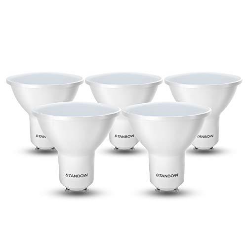 LED GU10 Warmweiss, STANBOW Glühbirne 5W Ersetzt 40W Halogenlampen, 400 Lumen 3000K Warmweiß CRI>80, 220-240V AC 5 Stück [Energieklasse A+]