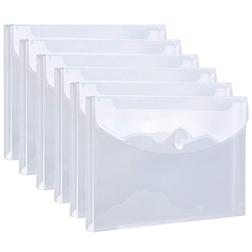 """FANWU 6 Pack Plastic Legal Size Envelopes with Hook & Loop Closure - 1-1/6"""" Expansion - Clear Poly Reusable File Folders Project Paper Documents Organizer for Office School Home"""