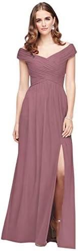 David s Bridal Crisscross Off The Shoulder Mesh Bridesmaid Dress Style F19951 Quartz 10 product image