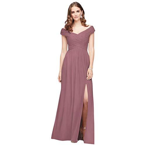 David's Bridal Crisscross Off-The-Shoulder Mesh Bridesmaid Dress Style F19951, Quartz, 10