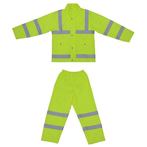 HSNMEY Set Regenanzug reflektierend Regenjacke/Regenhosen Warnschutz Hi-Vis regendicht mit Kapuze für Sport Outdoor, Gelb M
