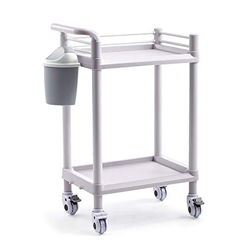 HF Opslagruimte Trolley Dedicated Trolley voor Schoonheidssalon met Remwielen, Multi-Purpose Mobile Tool Rolling Cart met Opslag Rack Dirt Bucket Off-white