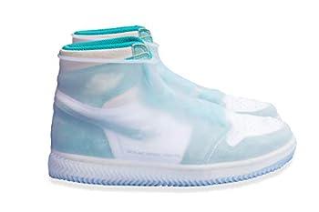 Silicone Shoe Covers Waterproof Overshoes Reusable Slip Resistant Rain Shoe Cases for Men Women  L  for men  White