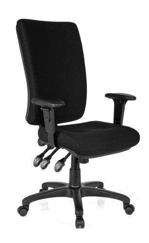 hjh OFFICE 702100 Profi Bürostuhl Zenit HIGH Stoff Schwarz Drehstuhl ergonomisch, Arm- und Rückenlehne verstellbar