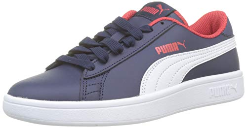 PUMJV|#Puma Smash V2 L Jr, (Peacoat-Puma White-High Risk Red 13), 5 (38 EU) EU