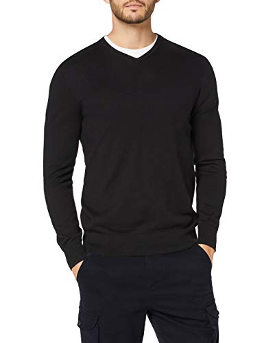 Marchio Amazon - MERAKI Pullover Cotone Uomo Scollo a V, Nero (Black), M, Label: M