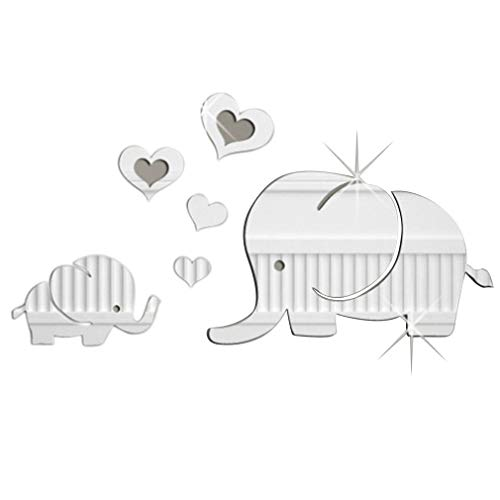 WXZQ Spiegelwand mit liebevollem kleinen Elefantenspiegel mit 3D-Acrylsplitter