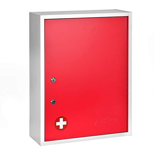 AdirMed Large Dual-Lock Medicine Cabinet – Wall Mounted & Secure Steel Medicine Pills & First Aid Kit & Emeergency Kit Box with Locks for Home Office & School Use (Red)